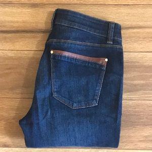 White House Black Market skimmer jeans w/leather